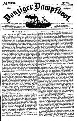 Danziger Dampfboot für Geist, Humor, Satire, Poesie, Welt- und Volksleben, Korrespondenz, Kunst, Literatur und Theater vom 17.09.1852