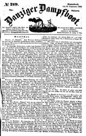 Danziger Dampfboot für Geist, Humor, Satire, Poesie, Welt- und Volksleben, Korrespondenz, Kunst, Literatur und Theater vom 18.09.1852