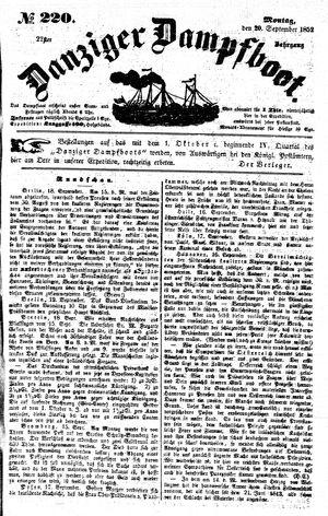 Danziger Dampfboot für Geist, Humor, Satire, Poesie, Welt- und Volksleben, Korrespondenz, Kunst, Literatur und Theater on Sep 20, 1852