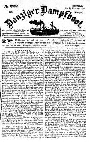 Danziger Dampfboot für Geist, Humor, Satire, Poesie, Welt- und Volksleben, Korrespondenz, Kunst, Literatur und Theater vom 22.09.1852
