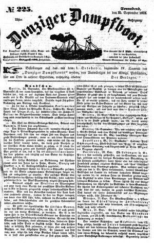 Danziger Dampfboot für Geist, Humor, Satire, Poesie, Welt- und Volksleben, Korrespondenz, Kunst, Literatur und Theater vom 25.09.1852