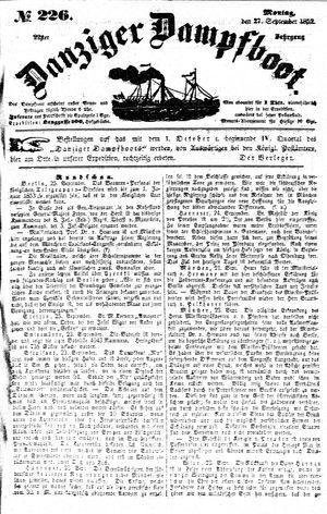 Danziger Dampfboot für Geist, Humor, Satire, Poesie, Welt- und Volksleben, Korrespondenz, Kunst, Literatur und Theater vom 27.09.1852
