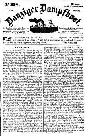 Danziger Dampfboot für Geist, Humor, Satire, Poesie, Welt- und Volksleben, Korrespondenz, Kunst, Literatur und Theater vom 29.09.1852