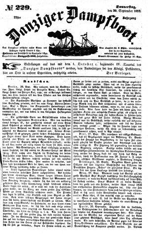 Danziger Dampfboot für Geist, Humor, Satire, Poesie, Welt- und Volksleben, Korrespondenz, Kunst, Literatur und Theater vom 30.09.1852