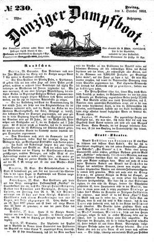 Danziger Dampfboot für Geist, Humor, Satire, Poesie, Welt- und Volksleben, Korrespondenz, Kunst, Literatur und Theater vom 01.10.1852