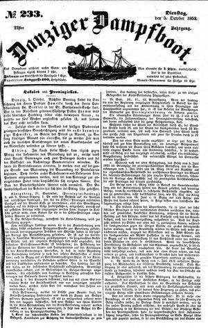 Danziger Dampfboot für Geist, Humor, Satire, Poesie, Welt- und Volksleben, Korrespondenz, Kunst, Literatur und Theater on Oct 5, 1852
