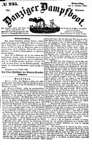 Danziger Dampfboot für Geist, Humor, Satire, Poesie, Welt- und Volksleben, Korrespondenz, Kunst, Literatur und Theater vom 07.10.1852