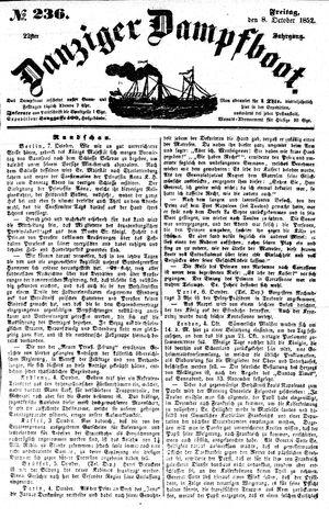 Danziger Dampfboot für Geist, Humor, Satire, Poesie, Welt- und Volksleben, Korrespondenz, Kunst, Literatur und Theater vom 08.10.1852