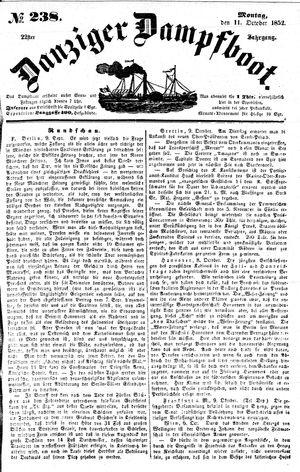 Danziger Dampfboot für Geist, Humor, Satire, Poesie, Welt- und Volksleben, Korrespondenz, Kunst, Literatur und Theater vom 11.10.1852