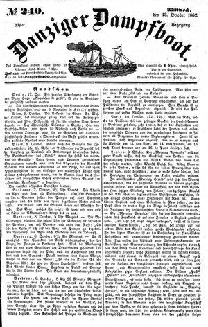 Danziger Dampfboot für Geist, Humor, Satire, Poesie, Welt- und Volksleben, Korrespondenz, Kunst, Literatur und Theater vom 13.10.1852