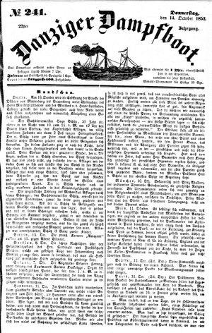 Danziger Dampfboot für Geist, Humor, Satire, Poesie, Welt- und Volksleben, Korrespondenz, Kunst, Literatur und Theater vom 14.10.1852