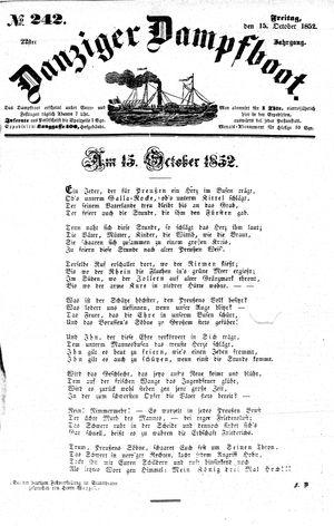 Danziger Dampfboot für Geist, Humor, Satire, Poesie, Welt- und Volksleben, Korrespondenz, Kunst, Literatur und Theater vom 15.10.1852
