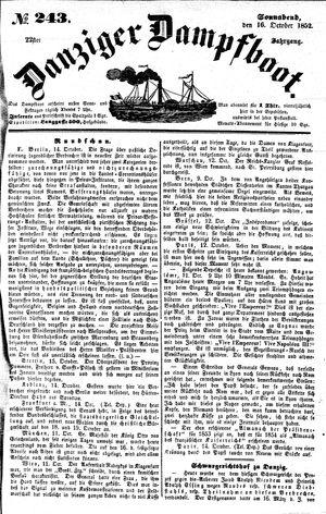 Danziger Dampfboot für Geist, Humor, Satire, Poesie, Welt- und Volksleben, Korrespondenz, Kunst, Literatur und Theater vom 16.10.1852