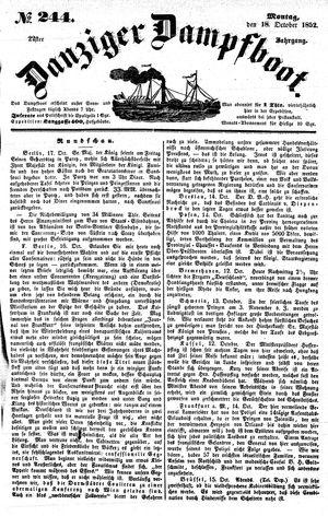 Danziger Dampfboot für Geist, Humor, Satire, Poesie, Welt- und Volksleben, Korrespondenz, Kunst, Literatur und Theater vom 18.10.1852