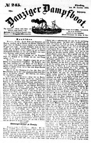 Danziger Dampfboot für Geist, Humor, Satire, Poesie, Welt- und Volksleben, Korrespondenz, Kunst, Literatur und Theater vom 19.10.1852