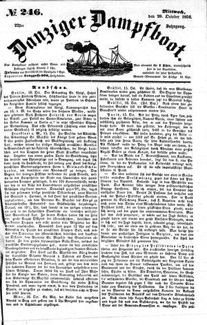 Danziger Dampfboot für Geist, Humor, Satire, Poesie, Welt- und Volksleben, Korrespondenz, Kunst, Literatur und Theater vom 20.10.1852