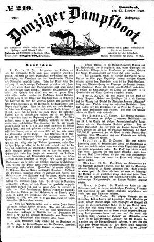 Danziger Dampfboot für Geist, Humor, Satire, Poesie, Welt- und Volksleben, Korrespondenz, Kunst, Literatur und Theater vom 23.10.1852