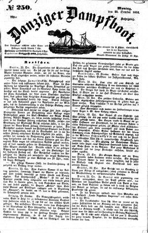 Danziger Dampfboot für Geist, Humor, Satire, Poesie, Welt- und Volksleben, Korrespondenz, Kunst, Literatur und Theater vom 25.10.1852