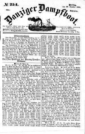 Danziger Dampfboot für Geist, Humor, Satire, Poesie, Welt- und Volksleben, Korrespondenz, Kunst, Literatur und Theater vom 29.10.1852