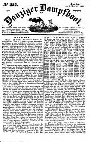 Danziger Dampfboot für Geist, Humor, Satire, Poesie, Welt- und Volksleben, Korrespondenz, Kunst, Literatur und Theater on Nov 2, 1852