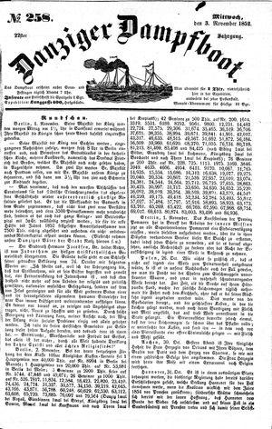 Danziger Dampfboot für Geist, Humor, Satire, Poesie, Welt- und Volksleben, Korrespondenz, Kunst, Literatur und Theater on Nov 3, 1852
