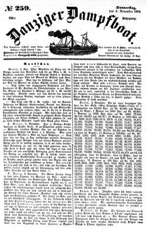 Danziger Dampfboot für Geist, Humor, Satire, Poesie, Welt- und Volksleben, Korrespondenz, Kunst, Literatur und Theater vom 04.11.1852
