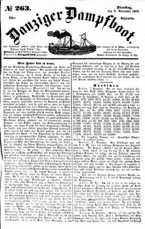 Danziger Dampfboot für Geist, Humor, Satire, Poesie, Welt- und Volksleben, Korrespondenz, Kunst, Literatur und Theater vom 09.11.1852