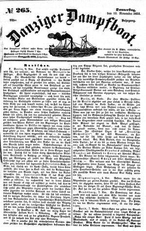 Danziger Dampfboot für Geist, Humor, Satire, Poesie, Welt- und Volksleben, Korrespondenz, Kunst, Literatur und Theater vom 11.11.1852