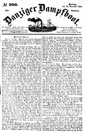 Danziger Dampfboot für Geist, Humor, Satire, Poesie, Welt- und Volksleben, Korrespondenz, Kunst, Literatur und Theater vom 12.11.1852