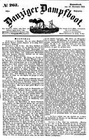 Danziger Dampfboot für Geist, Humor, Satire, Poesie, Welt- und Volksleben, Korrespondenz, Kunst, Literatur und Theater vom 13.11.1852