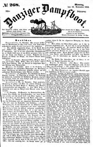 Danziger Dampfboot für Geist, Humor, Satire, Poesie, Welt- und Volksleben, Korrespondenz, Kunst, Literatur und Theater vom 15.11.1852