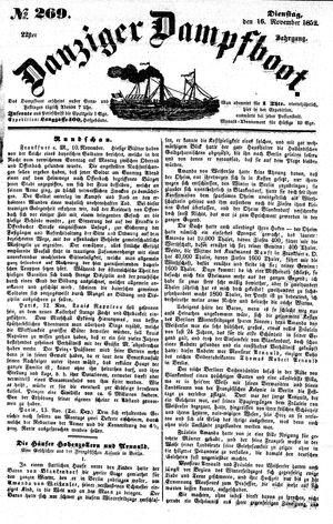 Danziger Dampfboot für Geist, Humor, Satire, Poesie, Welt- und Volksleben, Korrespondenz, Kunst, Literatur und Theater vom 16.11.1852