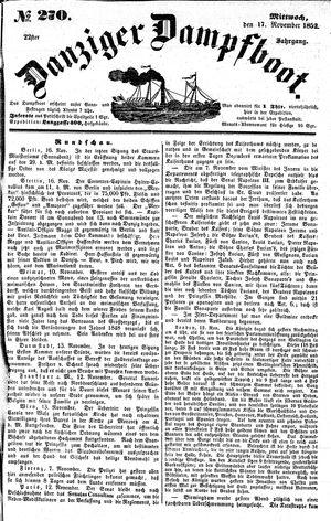 Danziger Dampfboot für Geist, Humor, Satire, Poesie, Welt- und Volksleben, Korrespondenz, Kunst, Literatur und Theater vom 17.11.1852