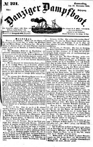 Danziger Dampfboot für Geist, Humor, Satire, Poesie, Welt- und Volksleben, Korrespondenz, Kunst, Literatur und Theater on Nov 18, 1852