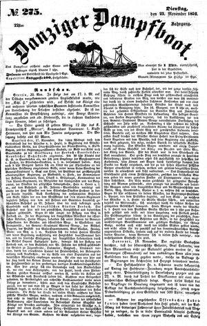 Danziger Dampfboot für Geist, Humor, Satire, Poesie, Welt- und Volksleben, Korrespondenz, Kunst, Literatur und Theater vom 23.11.1852