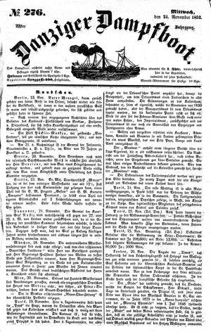 Danziger Dampfboot für Geist, Humor, Satire, Poesie, Welt- und Volksleben, Korrespondenz, Kunst, Literatur und Theater vom 24.11.1852