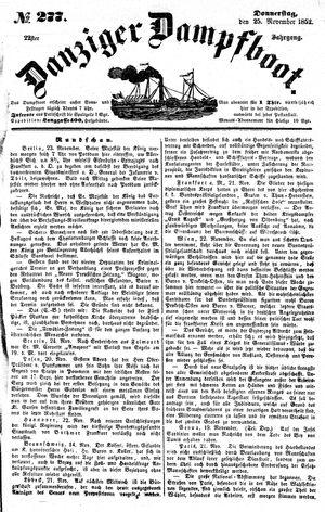 Danziger Dampfboot für Geist, Humor, Satire, Poesie, Welt- und Volksleben, Korrespondenz, Kunst, Literatur und Theater vom 25.11.1852