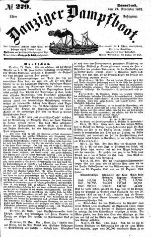 Danziger Dampfboot für Geist, Humor, Satire, Poesie, Welt- und Volksleben, Korrespondenz, Kunst, Literatur und Theater on Nov 27, 1852