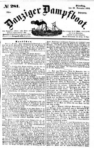 Danziger Dampfboot für Geist, Humor, Satire, Poesie, Welt- und Volksleben, Korrespondenz, Kunst, Literatur und Theater vom 30.11.1852