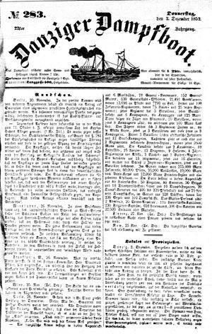 Danziger Dampfboot für Geist, Humor, Satire, Poesie, Welt- und Volksleben, Korrespondenz, Kunst, Literatur und Theater vom 02.12.1852
