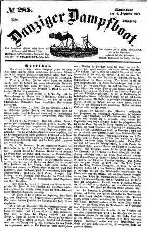 Danziger Dampfboot für Geist, Humor, Satire, Poesie, Welt- und Volksleben, Korrespondenz, Kunst, Literatur und Theater vom 04.12.1852