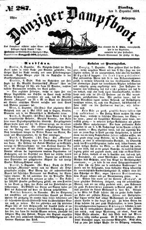 Danziger Dampfboot für Geist, Humor, Satire, Poesie, Welt- und Volksleben, Korrespondenz, Kunst, Literatur und Theater vom 07.12.1852