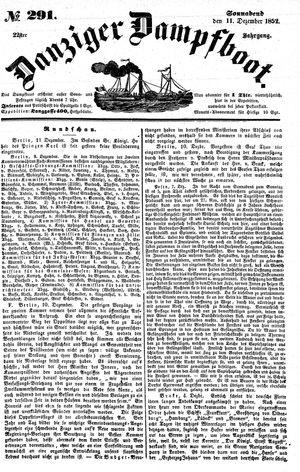 Danziger Dampfboot für Geist, Humor, Satire, Poesie, Welt- und Volksleben, Korrespondenz, Kunst, Literatur und Theater vom 11.12.1852
