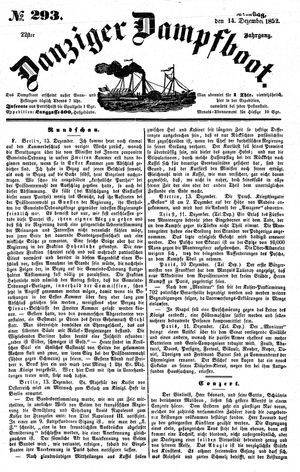 Danziger Dampfboot für Geist, Humor, Satire, Poesie, Welt- und Volksleben, Korrespondenz, Kunst, Literatur und Theater vom 14.12.1852