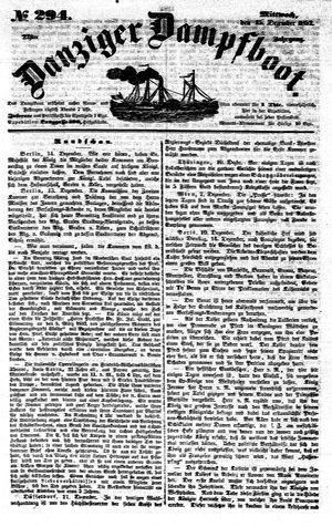 Danziger Dampfboot für Geist, Humor, Satire, Poesie, Welt- und Volksleben, Korrespondenz, Kunst, Literatur und Theater vom 15.12.1852