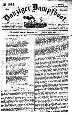 Danziger Dampfboot für Geist, Humor, Satire, Poesie, Welt- und Volksleben, Korrespondenz, Kunst, Literatur und Theater vom 31.12.1852
