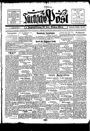 Türkische Post vom 01.01.1927