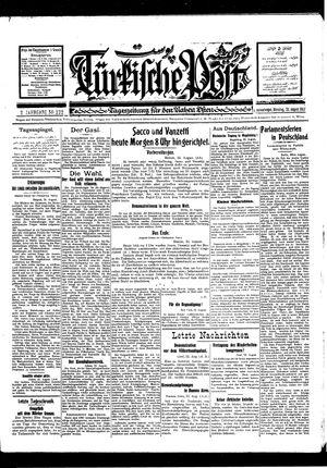 Türkische Post vom 23.08.1927
