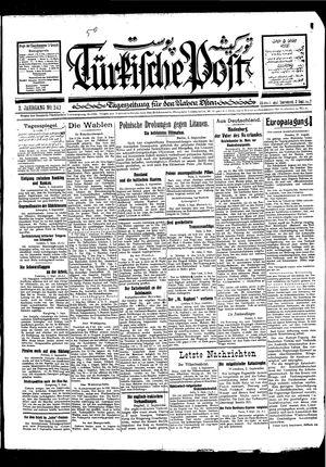 Türkische Post vom 03.09.1927