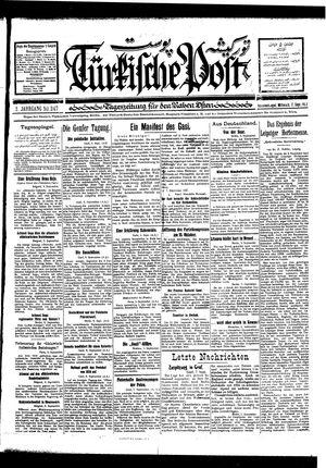 Türkische Post vom 07.09.1927